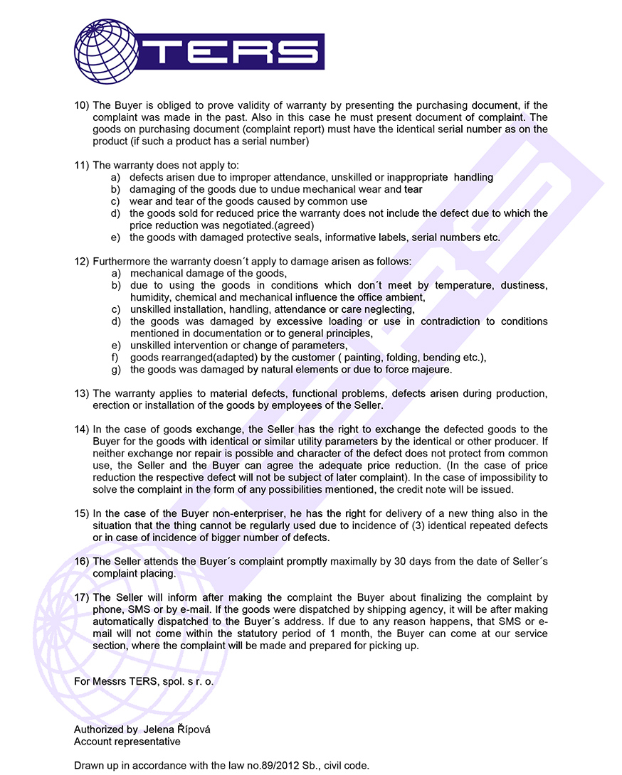 Warranty terms, page 2