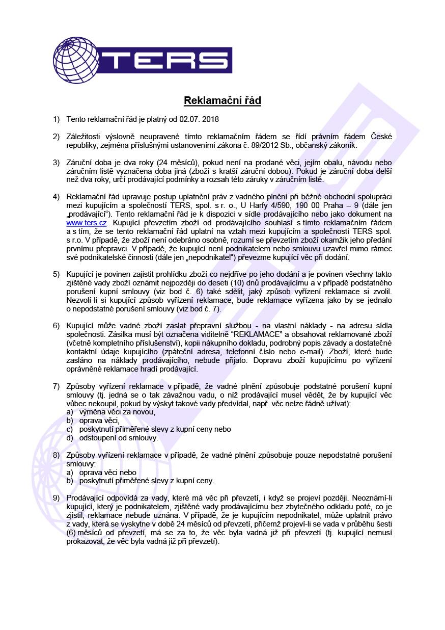 Reklamační řád, strana 1