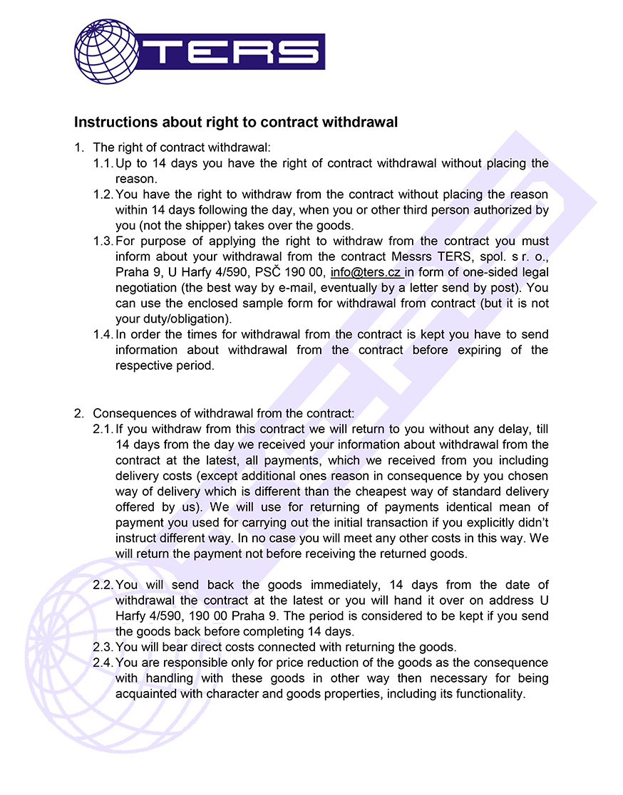 Instructions about right to contract withdrawal, page 1