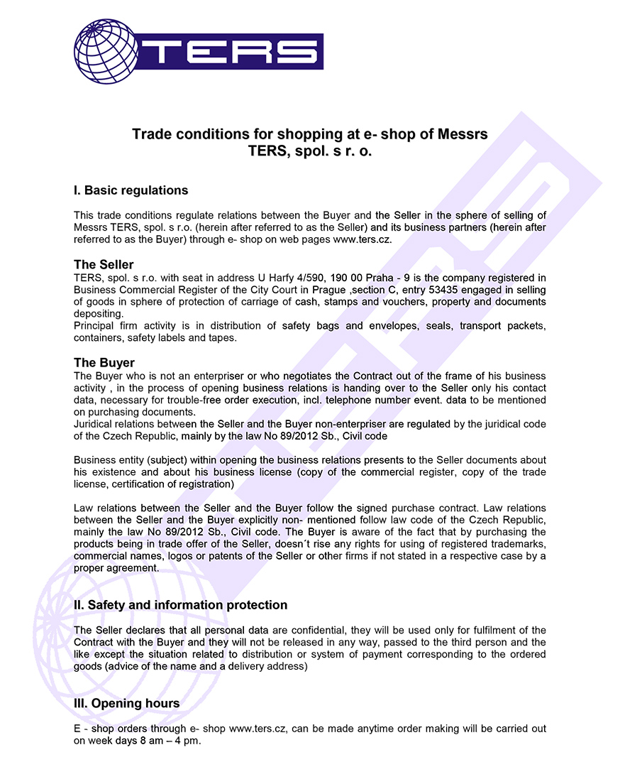 Terms of conditions, page 1