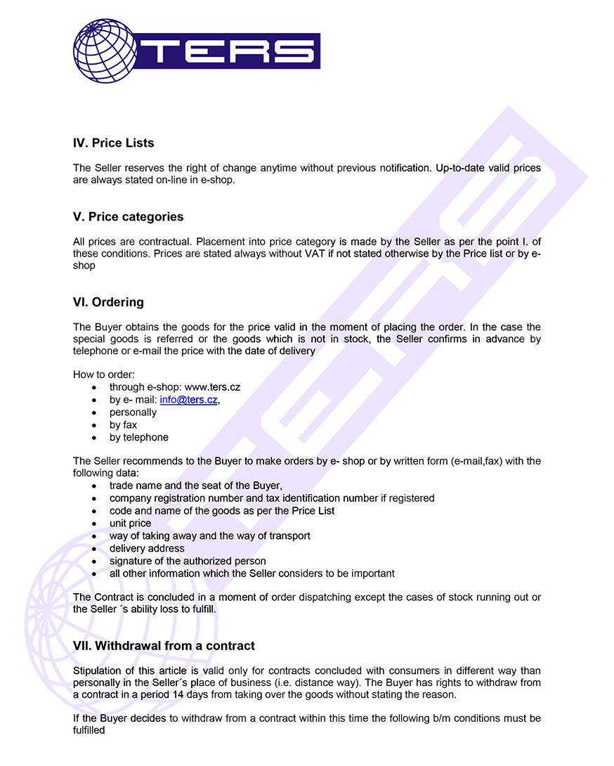 Terms of conditions, page 2