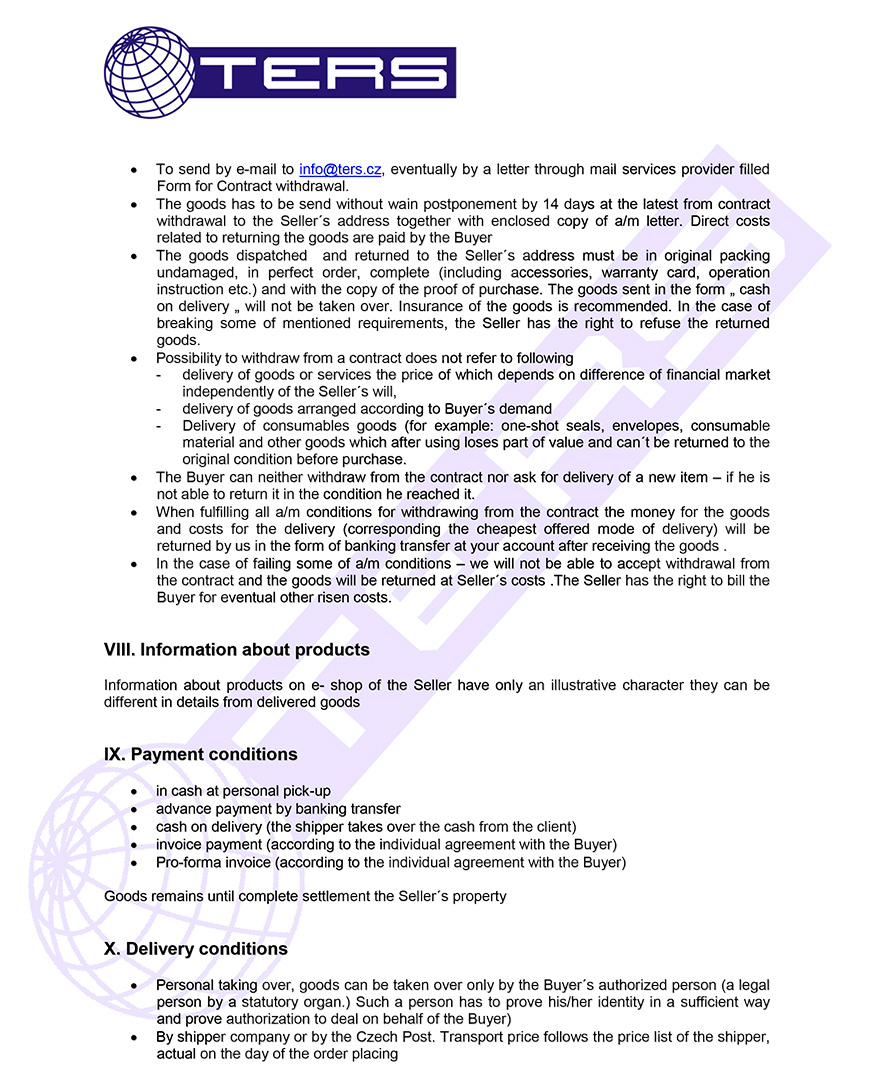 Terms of conditions, page 3