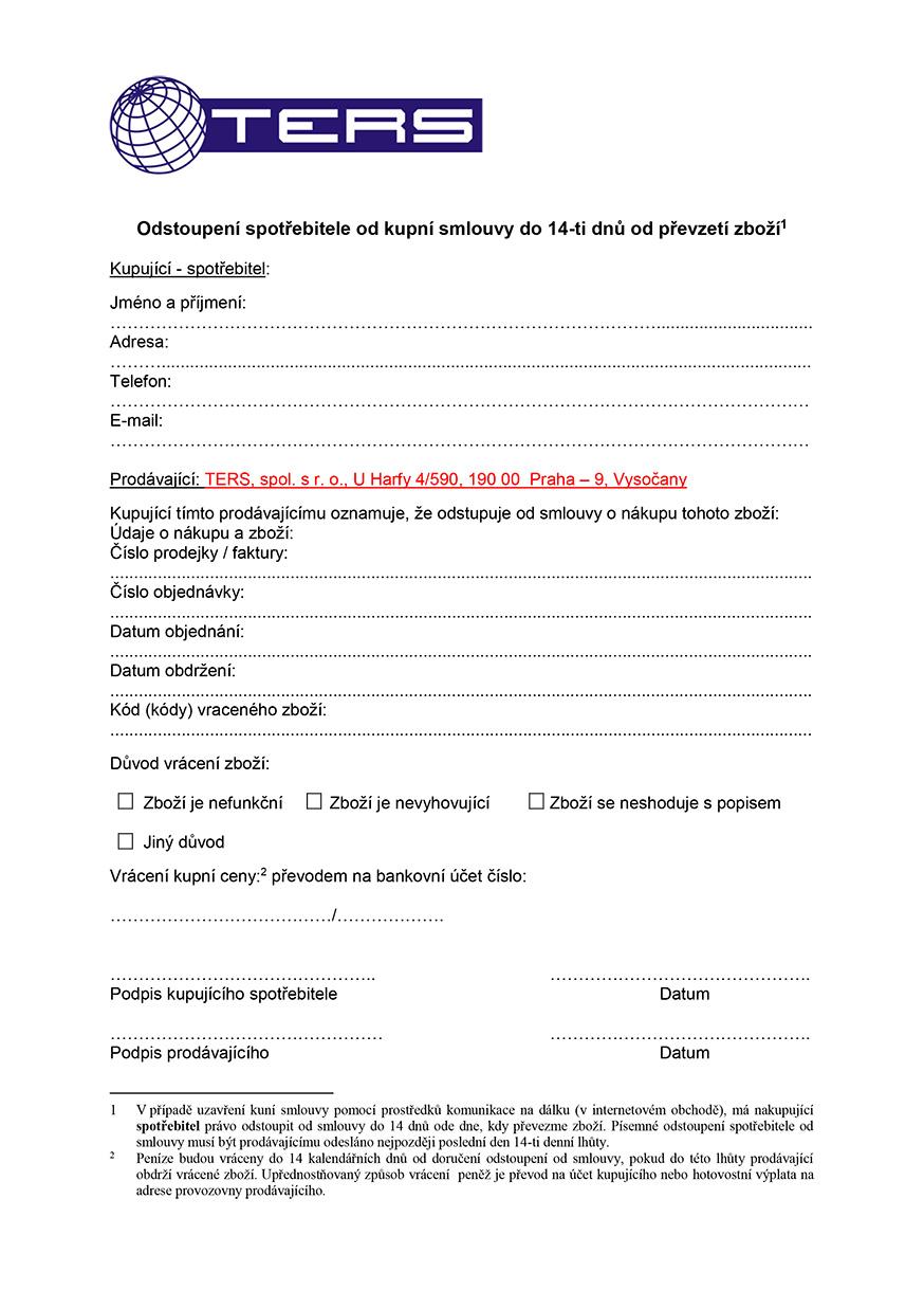 Poučení o právu na odstoupení od smlouvy, strana 2